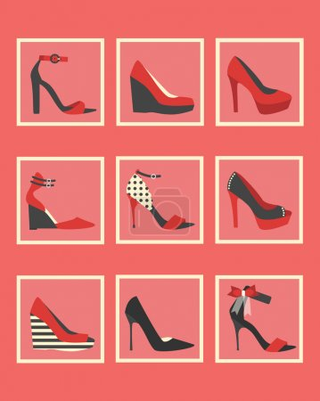 Unique pink and red women shoes square icons set