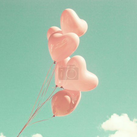 Photo for Retro Pastel Love Balloons on Mint Sky - Royalty Free Image