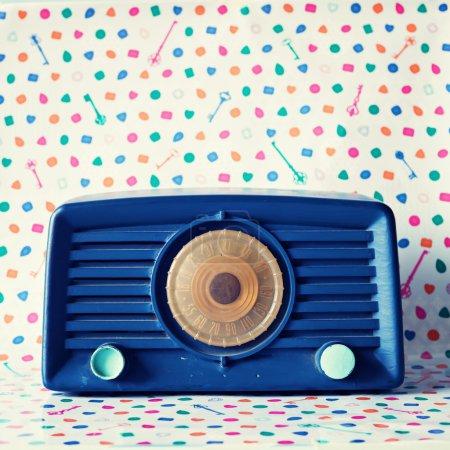 Photo for Retro Radio on colorful background - Royalty Free Image