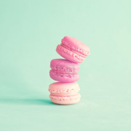 Photo for Sweet french macaroons on retro-vintage background - Royalty Free Image