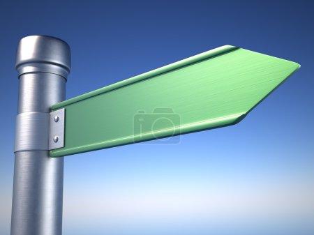 Photo pour Panneau de direction vide au-dessus du ciel bleu - Illustration de rendu 3D - image libre de droit