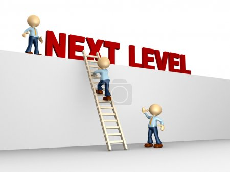 Photo for 3d people - man, person with ladder. Next level. Progress concept. - Royalty Free Image