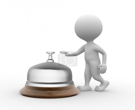 Photo pour 3d personnes - hommes, personne et une cloche de service . - image libre de droit