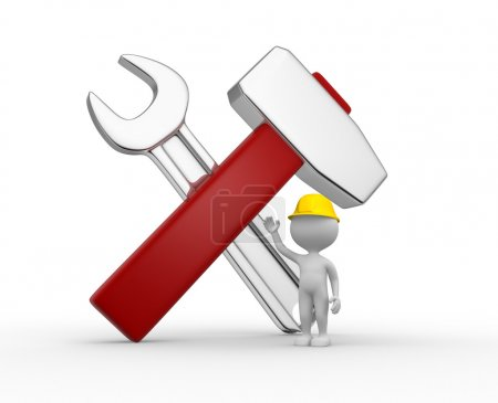 Photo for 3d people - men, person with repair tools - wrench and hammer - Royalty Free Image