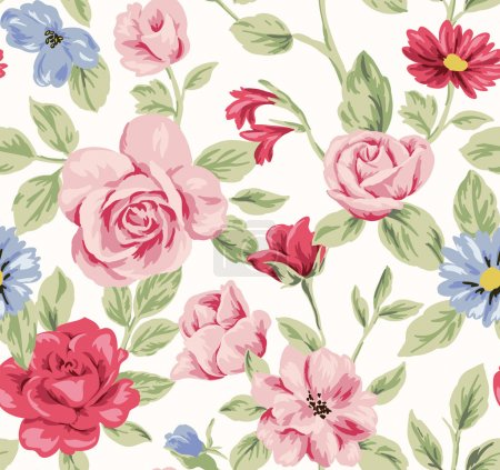 Illustration for Seamless rose pattern for flowers background - Royalty Free Image