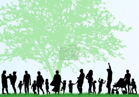 Illustration pour Grandes silhouettes familiales - image libre de droit
