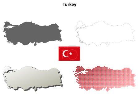 Illustration pour Turquie ébauche détaillée carte ensemble - image libre de droit