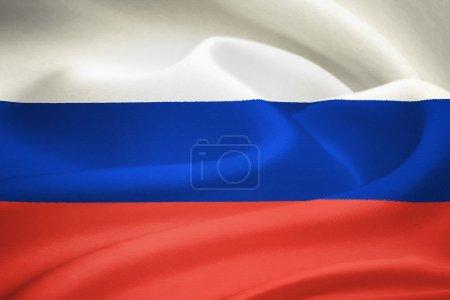 Photo pour Drapeau de la Russie ondulant dans le vent. modèle texture soie - image libre de droit