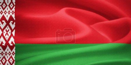 Photo pour Drapeau de la Biélorussie agitant le vent. Modèle de texture de soie - image libre de droit