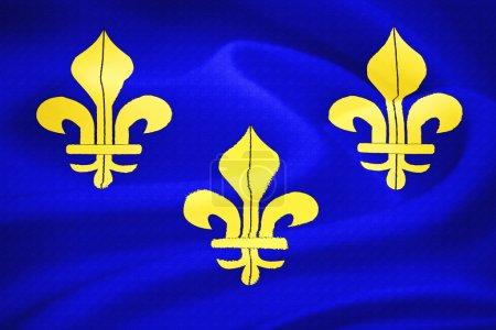 Foto de Antigua francés bandera ondeando al viento. patrón de textura seda - Imagen libre de derechos