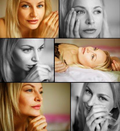 Foto de Hermosa joven rubia. Piel limpia perfecta y maquillaje natural. De cerca. Un disparo interior. collage de mosaico - Imagen libre de derechos