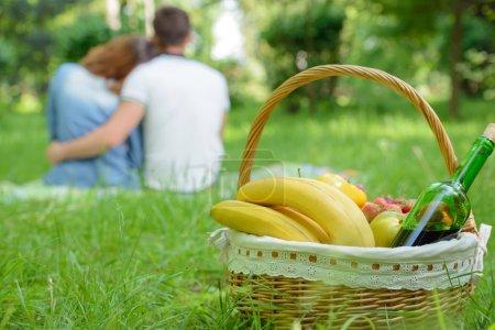 Photo pour Pique-nique. romantique couple heureux jour ensoleillé prés - image libre de droit