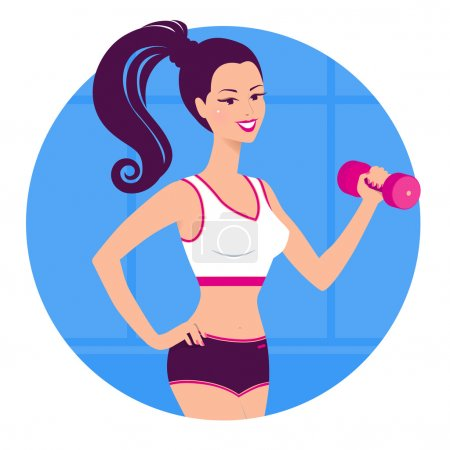 Girl with a dumbbell.