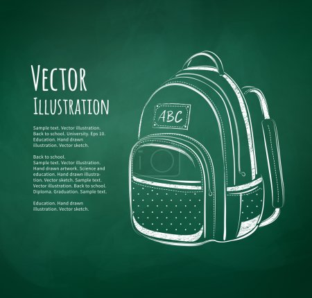 Illustration for Chalkboard drawing of school bag on green school-board background - Royalty Free Image