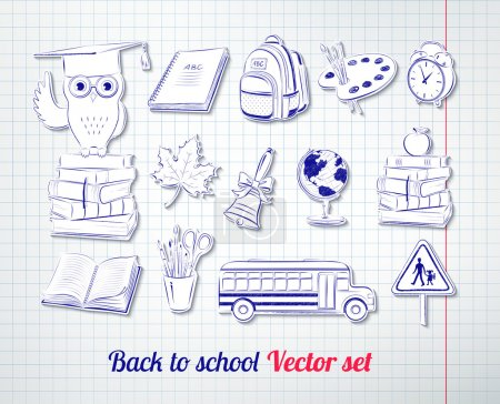 Illustration for Back to school vector set with checkered notebook paper background - Royalty Free Image