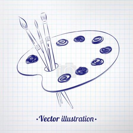 Illustration for Paint palette. Chalkboard drawing. Vector illustration - Royalty Free Image