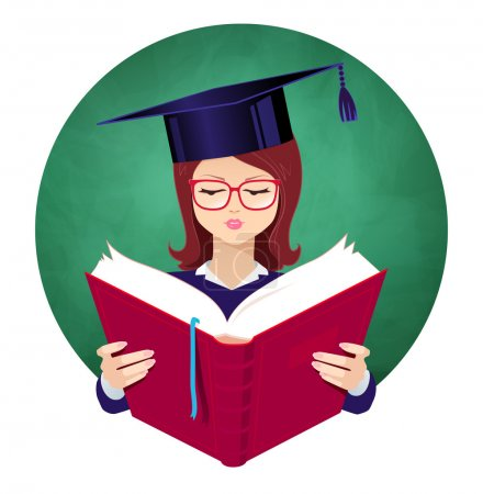 Illustration for Girl wearing graduation hat reading book on chalkboard background. Vector illustration. - Royalty Free Image