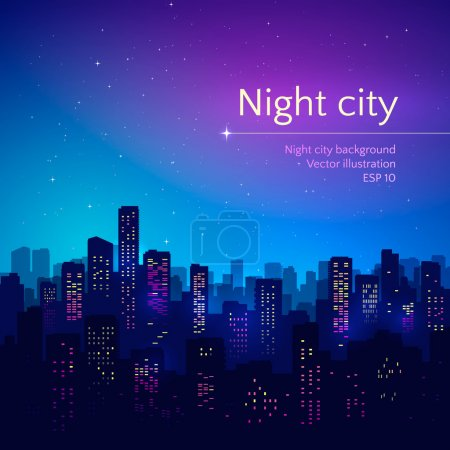Illustration for Night city. Vector illustration. - Royalty Free Image