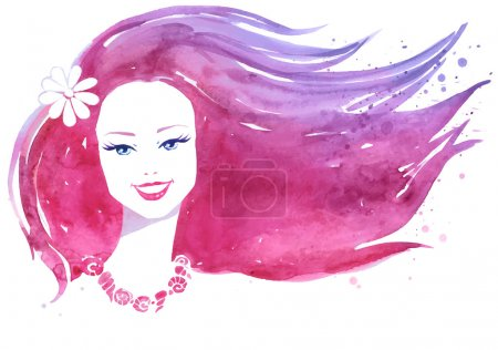Illustration pour Portrait aquarelle de jeune femme souriante aux cheveux roses - image libre de droit