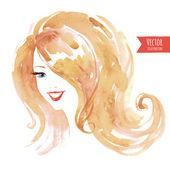 Watercolor smiling woman