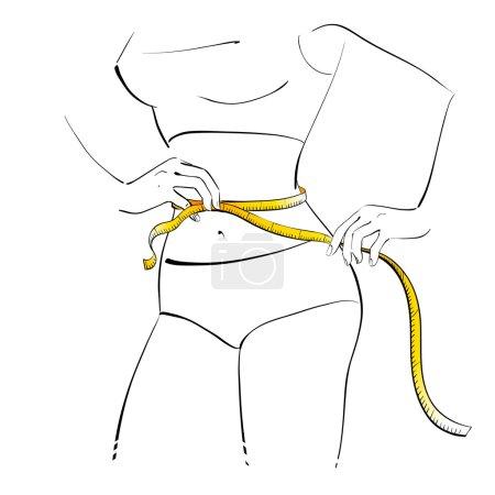 Illustration pour Une fille qui mesure sa taille. Illustration vectorielle . - image libre de droit