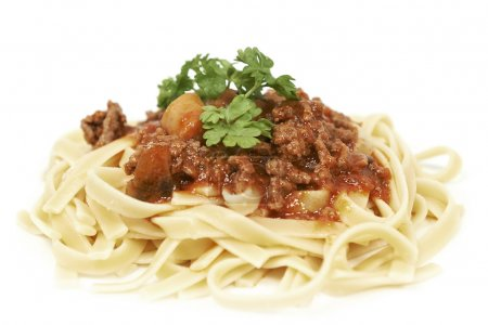 Photo for Spaghetti bolognese isolated on a white background - Royalty Free Image