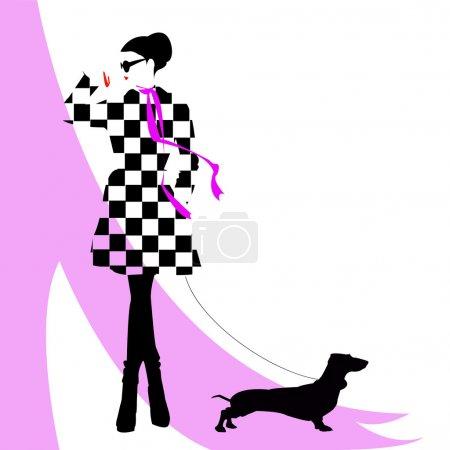Illustration pour Fille de mode avec un chien - image libre de droit