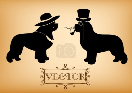 Vector Lady and Gentleman illustration with newfoundland dogs