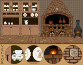 Vector Illustration of an old traditional (Dutch) kitchen