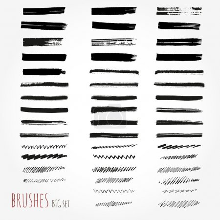 Big set of brushes. Abstract hand drawn ink strokes