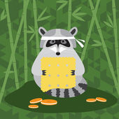 Funny cartoon cute raccoon and cookie background for use in design