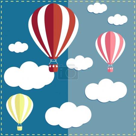 Ilustración de Globo de aire caliente de dibujos animados de colores brillantes en el fondo de cielo para el uso en diseño para la tarjeta, invitación, afiche, banner, cartel o cartelera tapa - Imagen libre de derechos