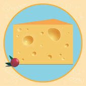 Bright cartoon illustration with piece of cheese for use in design for card invitation poster banner placard or billboard cover