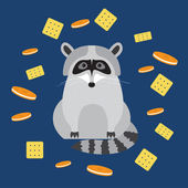 Funny cartoon cute raccoon and cookie isolated on dark blue cover