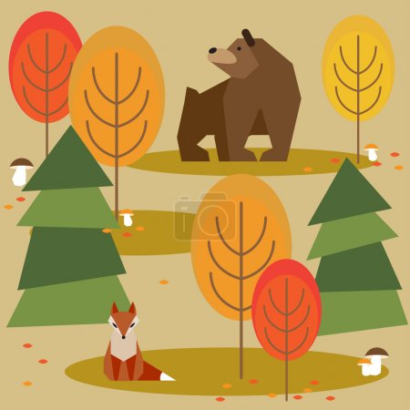 Autumn bright colored abstract cartoon forest background with funny geometric animals