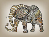 Tribal ethnic elephant with floral and geometric ornaments detailed lacy pattern hand drawn artwork in graphic style