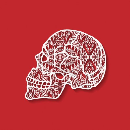 Decorative skull, detailed black lace pattern, creativity brain, ethnic ornament, Day of The Dead, vector illustration