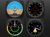 Airplane flying instruments vector