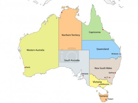 Map of Australia with internal regional boundaries, vector