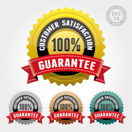 Customer Satisfaction Guarantee Badge and Sign with Glossy - Vector